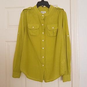 Green semi-sheer shirt